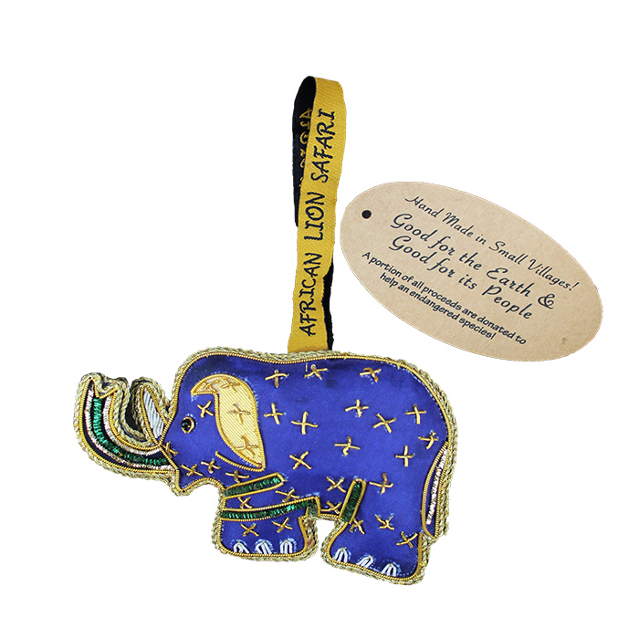 Small Villages Ornament Elephant Blue