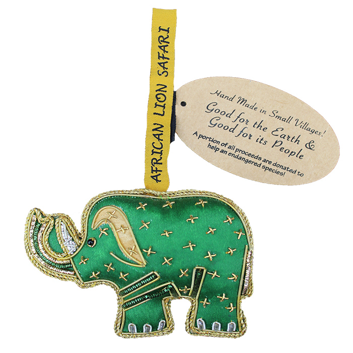 Small Villages Ornament Elephant Green